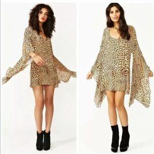 ONE TEASPOON leopard kimono slv tunic dress XS S